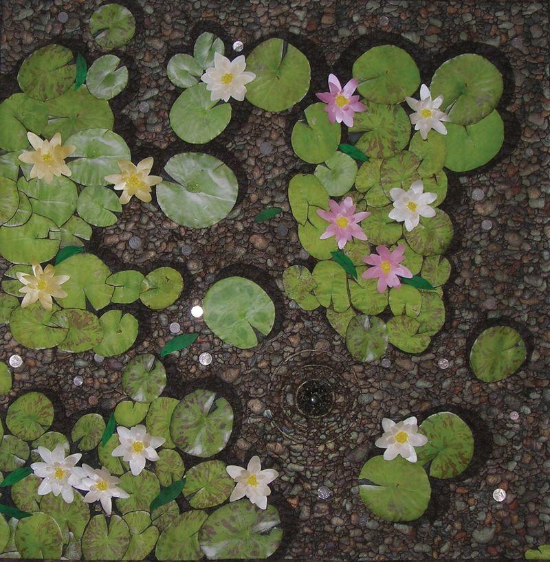 'Water Lily Fountain, Santa Barbara CA' Quilt by Kathleen Hughes